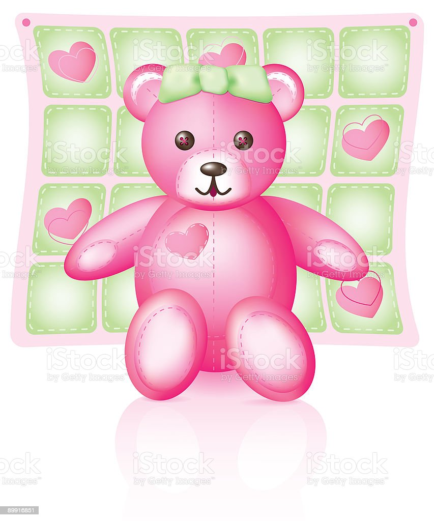 Pink Teddy Bear royalty-free stock vector art