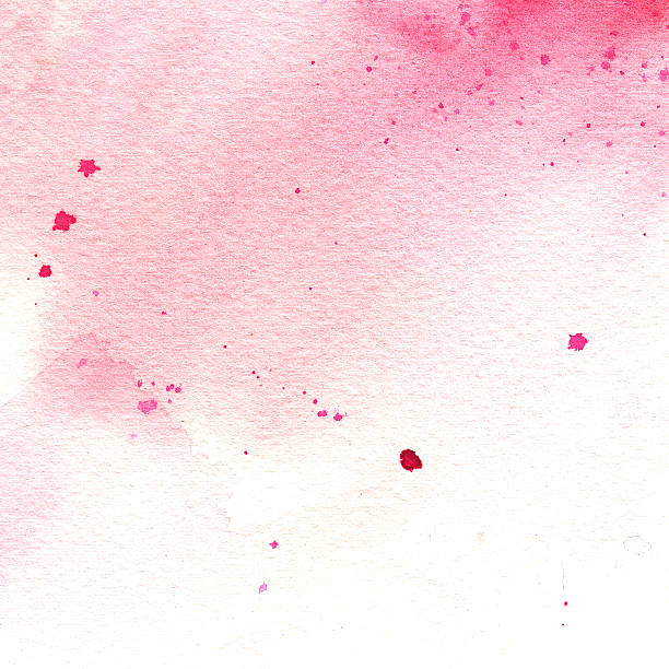 pink watercolor stain with splashes, spot, dots vector art illustration