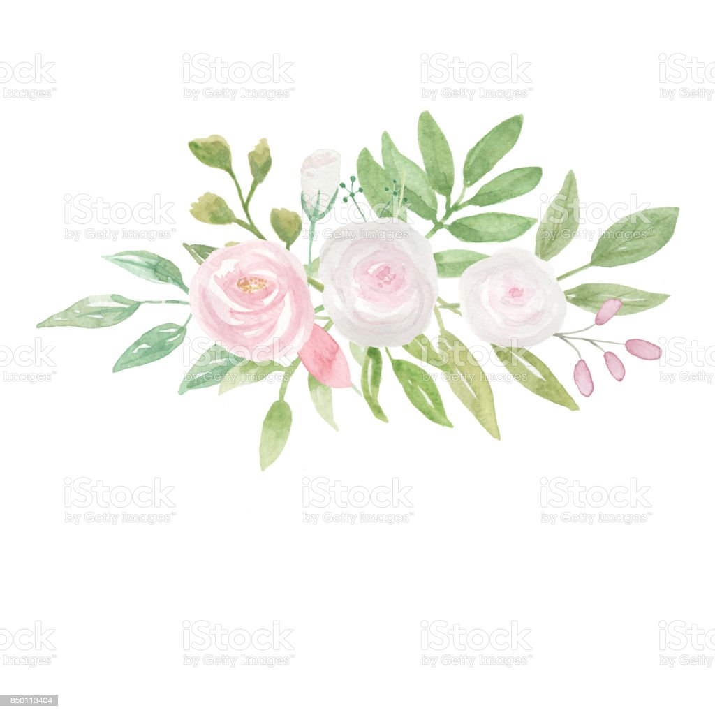 Pink White Wedding Flowers Hand Painted Bouquet Stock Vector Art