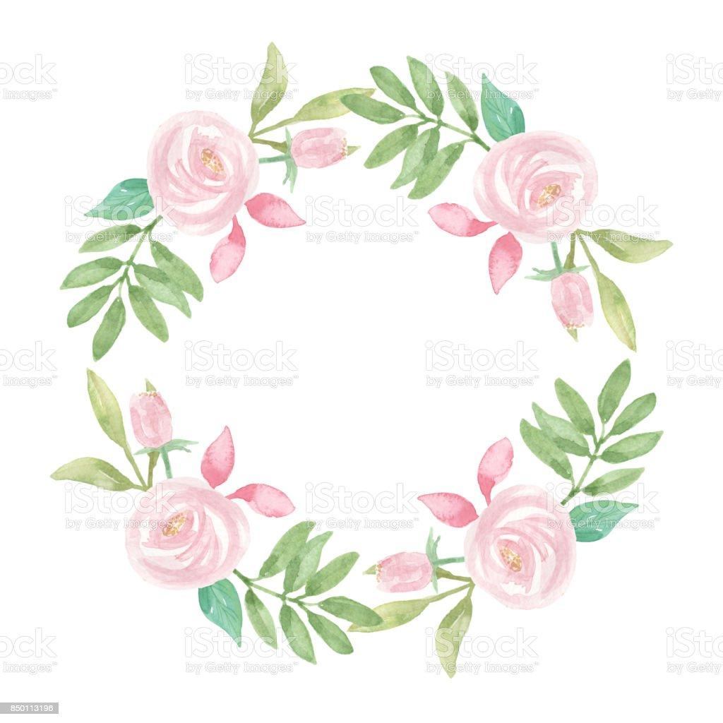 Rosa Weisse Hochzeit Blumen Handgemalt Kranz Stock Vektor Art Und