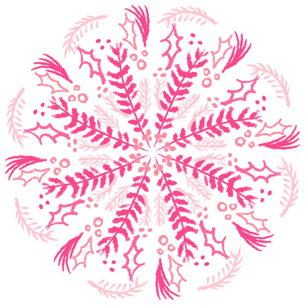 Pink wreath design drawing Hand drawn pink Christmas wreath design kathrynsk stock illustrations