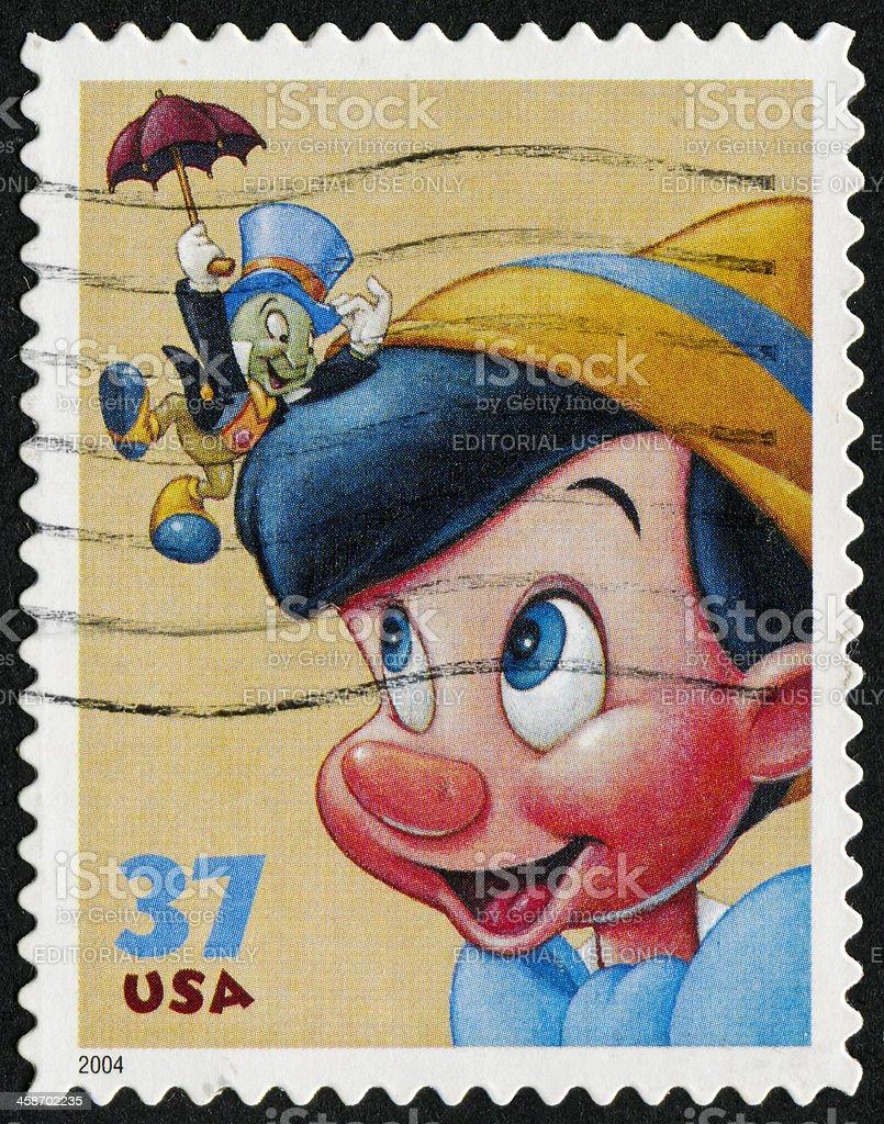 Pinocchio Stamp vector art illustration