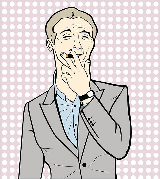 pinup smoker men - old man smoking cigar stock illustrations, clip art, cartoons, & icons