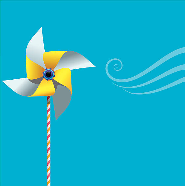 Pinwheel on blue.eps vector art illustration