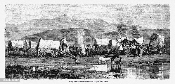 Beautifully Illustrated Antique Engraved Victorian Illustration of Early American Pioneer Western Wagon Train Victorian Engraving, 1868. Source: Original edition from my own archives. Copyright has expired on this artwork. Digitally restored.