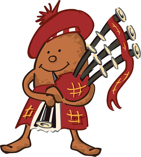 piping haggis - haggis stock illustrations, clip art, cartoons, & icons