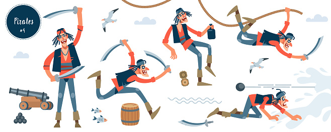 Pirate. Bandit. Thin pirate character in different pose. Cartoon flat isolated vector illustration.