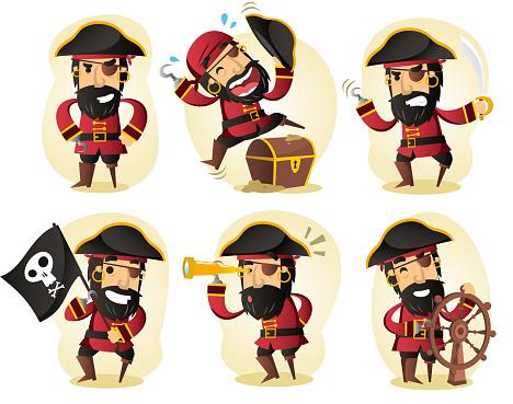 Pirate binoculars treasure coffin ship skull flag