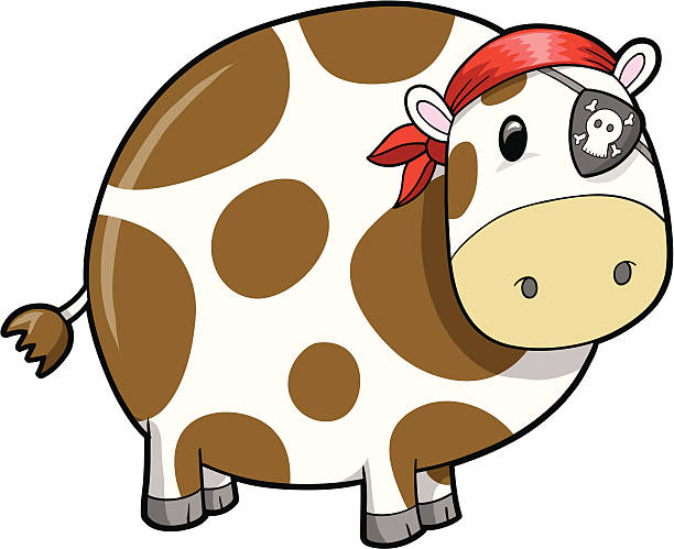 Pirate Cow vector art illustration