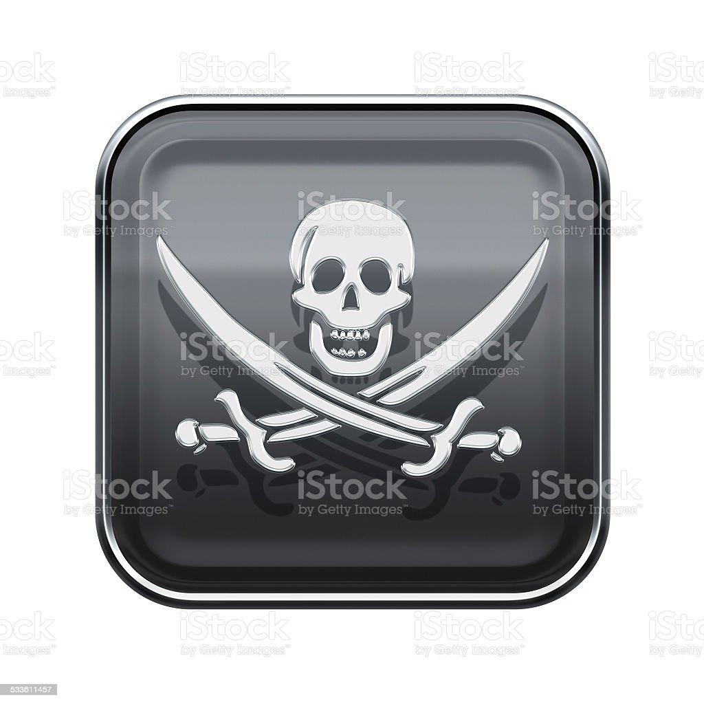 Piraten-Symbol aus glänzendem Grau, isoliert auf weiss backround – Vektorgrafik