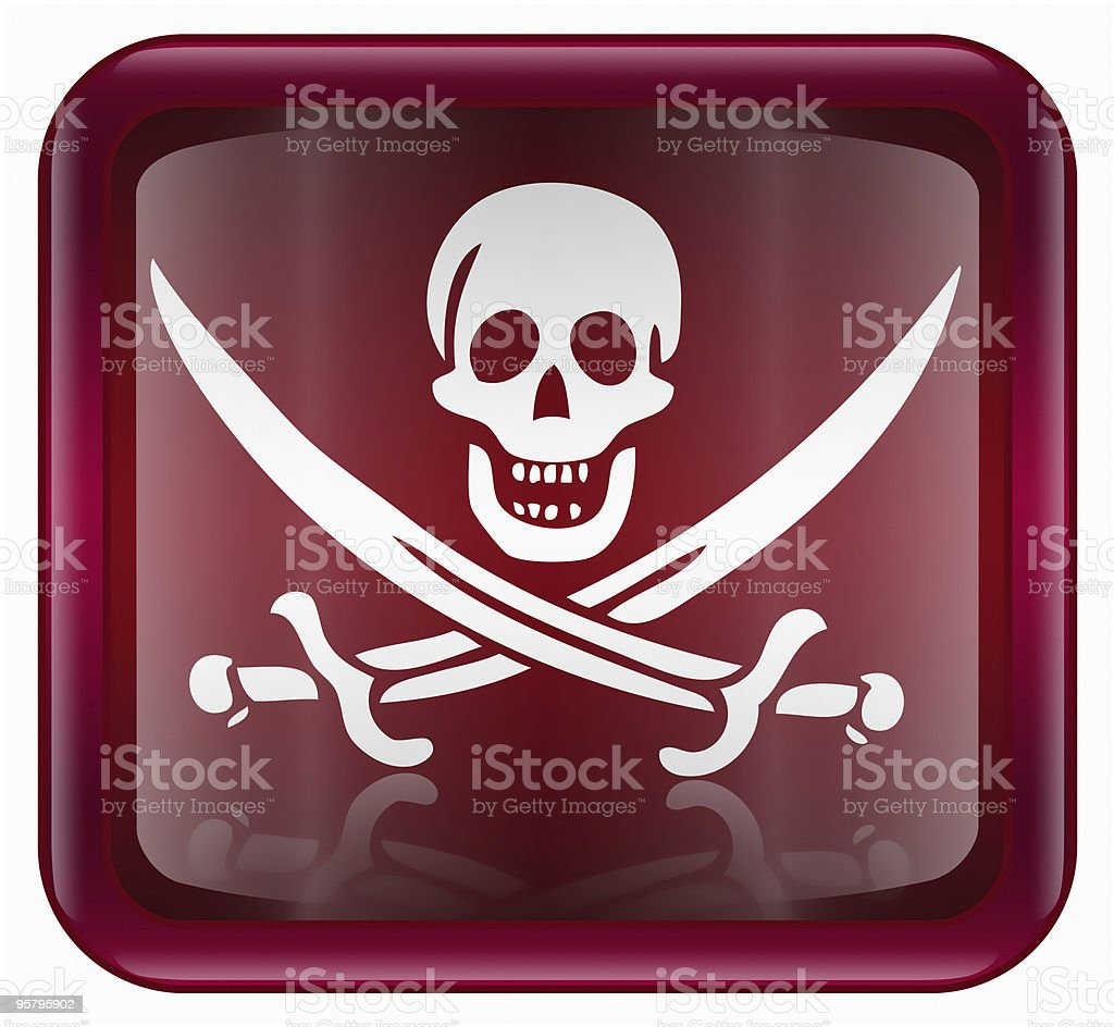 Pirate icon red, isolated on white backround royalty-free pirate icon red isolated on white backround stock vector art & more images of animal bone