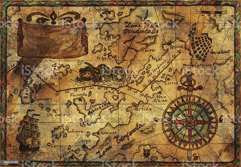 Pirate map with old fabric texture effect vector art illustration