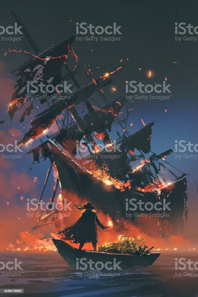 pirate on boat with treasure looking at sinking ship vector art illustration