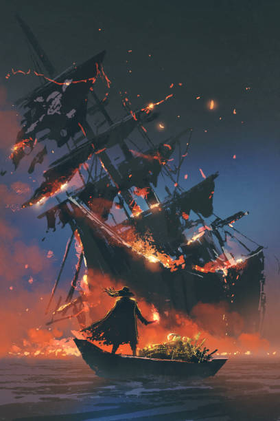 pirate on boat with treasure looking at sinking ship the pirate with burning torch standing on boat with treasure looking at sinking ship, digital art style, illustration painting pirate ship stock illustrations