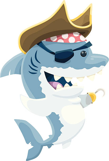 Pirate Shark vector art illustration
