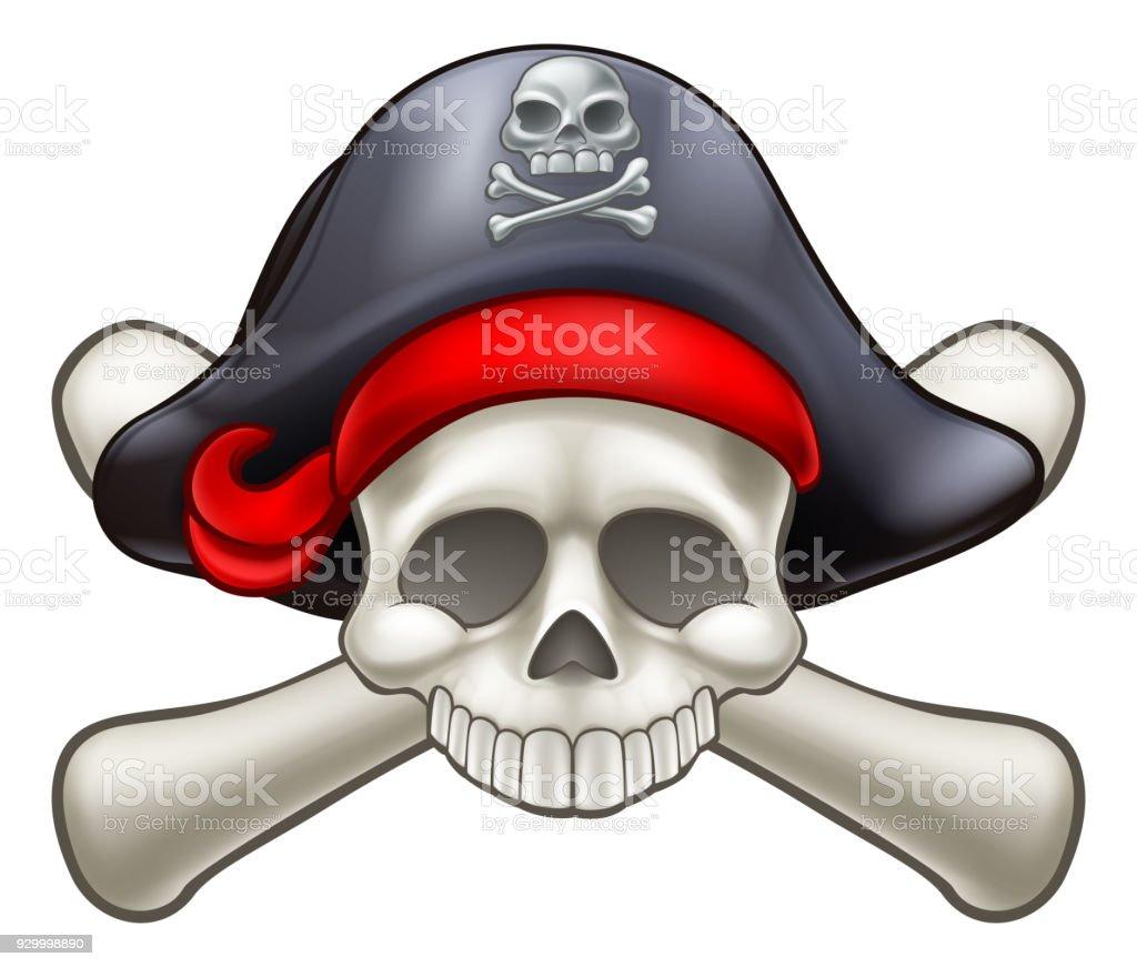 Pirate Skull and Crossbones vector art illustration