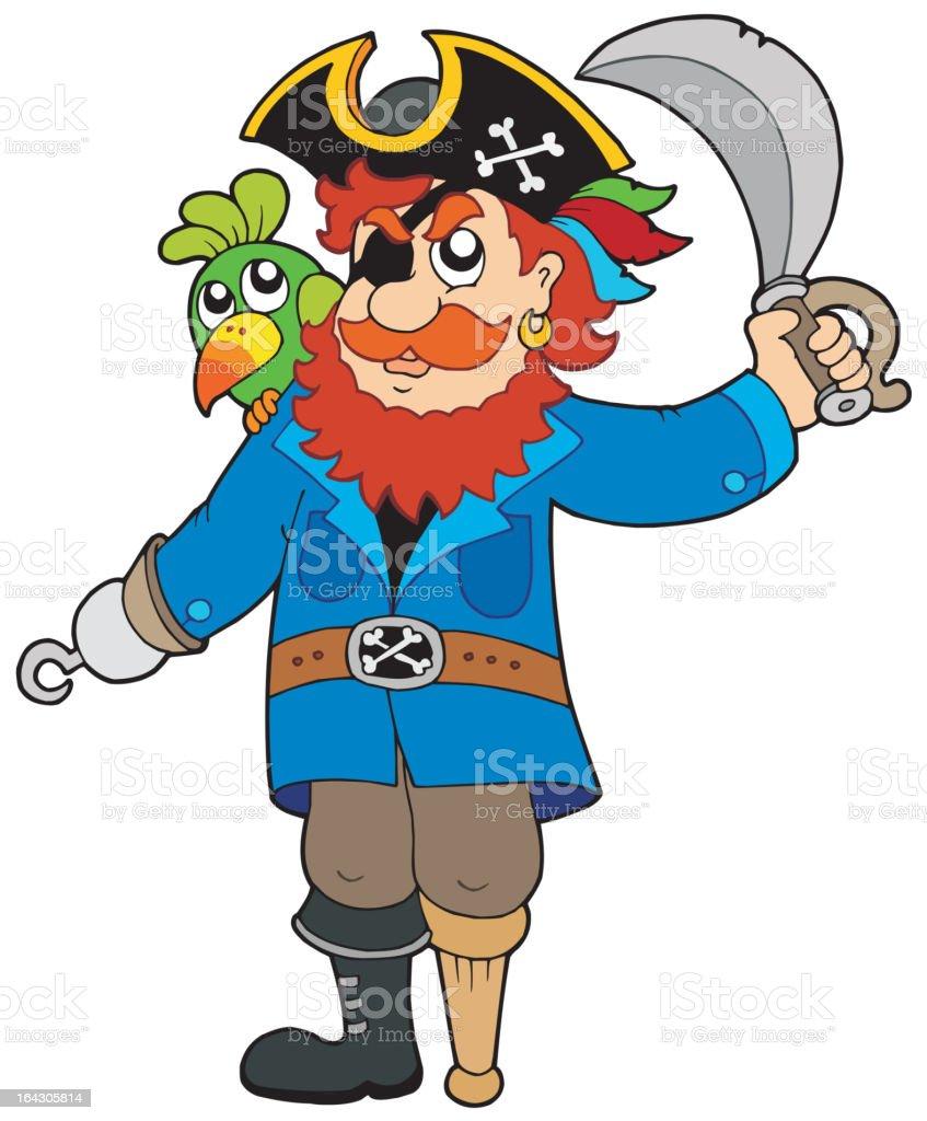 Pirate Mit Papagei Und Sabre Stock Vektor Art Und Mehr