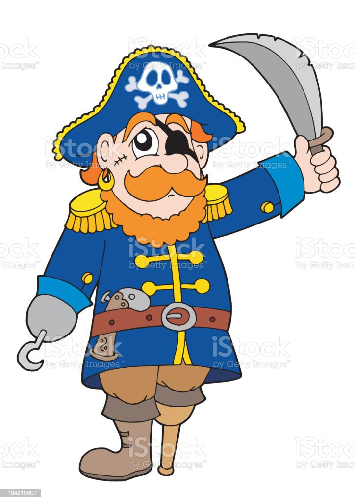 Pirate with sabre royalty-free stock vector art