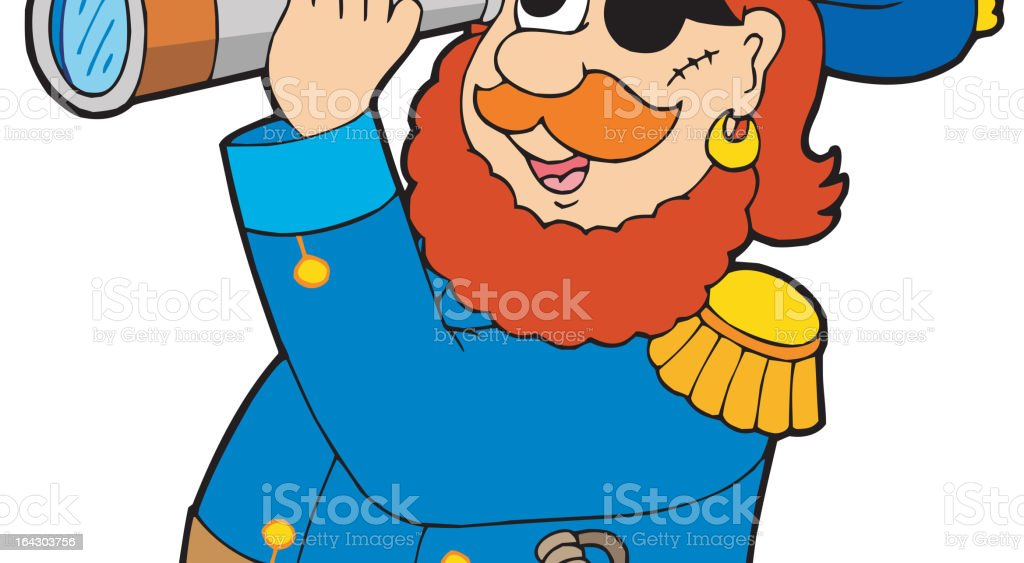 Pirate with spyglass and parrot royalty-free stock vector art