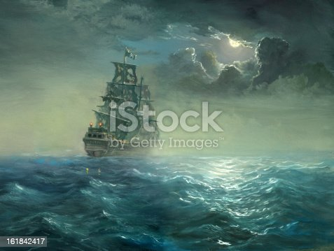 The night sea, sailing ship with the torn sails covered by moon light.Painting, canvas, oil, created and painted by the photographer.