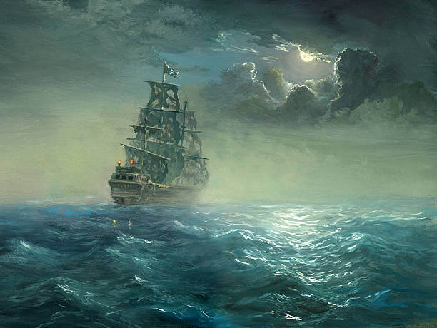 pirates The night sea, sailing ship with the torn sails covered by moon light.Painting, canvas, oil, created and painted by the photographer. pirate ship stock illustrations