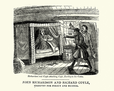 Vintage illustration of Pirates John Richardson and Richard Coyle attacking Captain Benjamin Hartley in his cabin, 18th Century