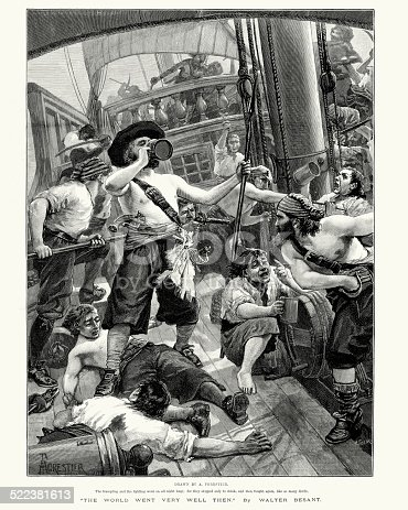 istock Pirates looting a ship they have captured 522381613