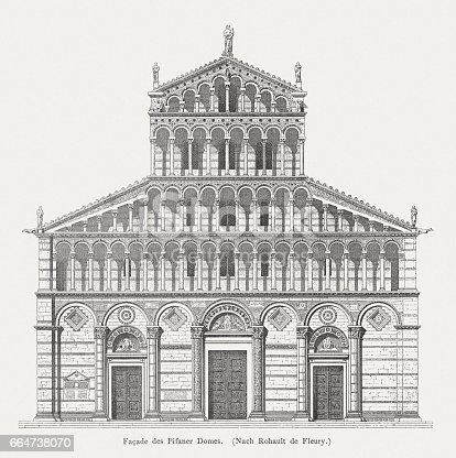 Facade of the Pisa Cathedral, built end of the 12th century by Rainaldo. Wood engraving after a drawing by Charles Rohault de Fleury (French architect, 1801 - 1875), published in 1884.
