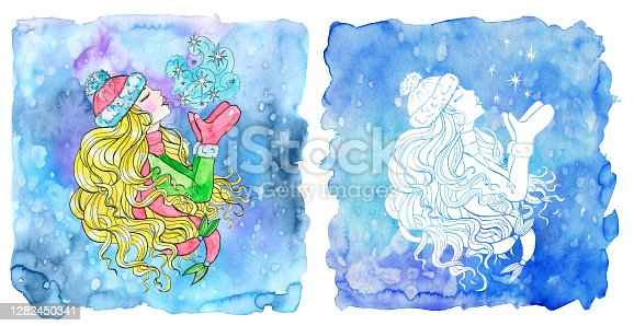 istock Pisces zodiac symbol. Beautiful girl wearing warm hat, mittens and scarf kissing the frost air against painted blue background. 1282450341