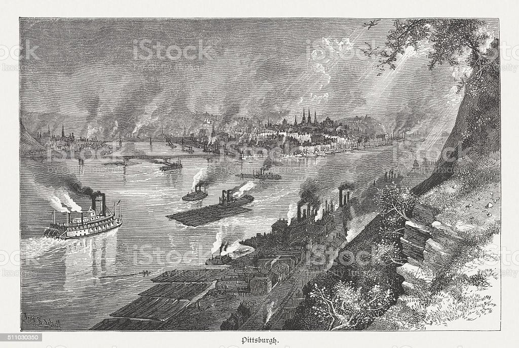 Pittsburgh in Pennsylvania, wood engraving, published in 1880 vector art illustration
