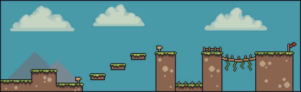 Pixel art 8bit 2D game scene, with clouds, grass, bridge, fence, board, flag Pixel art 8bit 2D game scene pedreiro stock illustrations