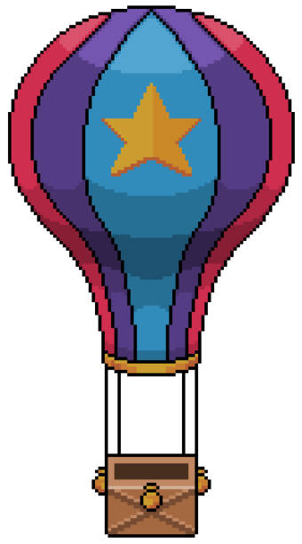 Pixel art balloon game item 8bit white background Pixel art balloon with white background pedreiro stock illustrations