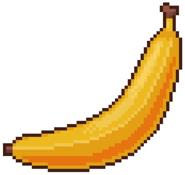 Pixel art banana 8bit game icon white background Pixel art banana with white background pedreiro stock illustrations
