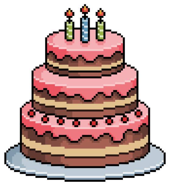 Pixel art birthday cake. 8bit game item on white background Pixel art chocolate birthday cake with icing pedreiro stock illustrations