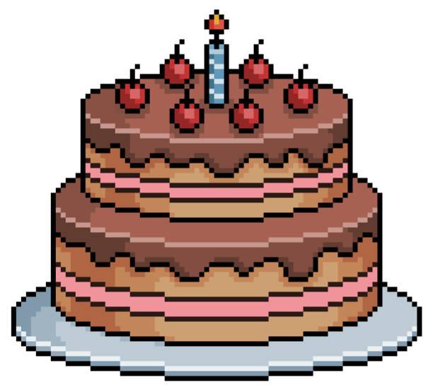 Pixel art birthday cake.  game item on white background Pixel art chocolate birthday cake with icing pedreiro stock illustrations
