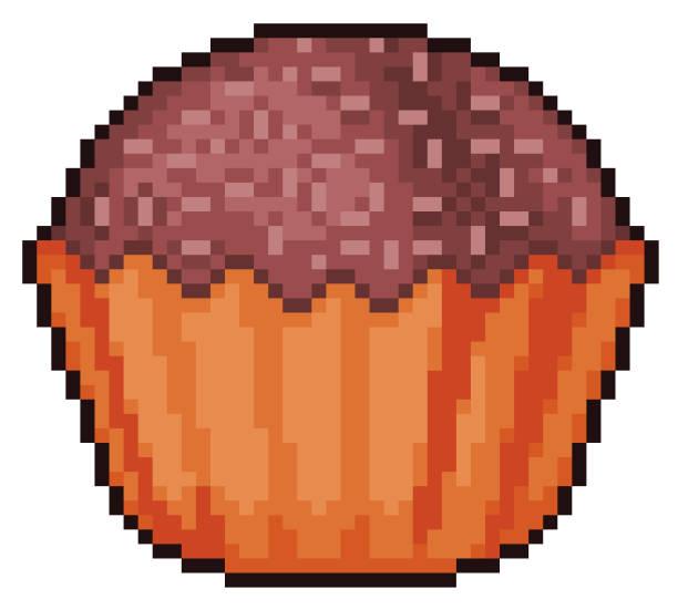 ilustrações, clipart, desenhos animados e ícones de pixel art chocolate brigadeiro ícone 8bit jogo com fundo branco - brigadeiro
