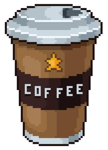 Pixel art coffee cup 8bit Pixel art coffee cup 8bit game icon on white background pedreiro stock illustrations