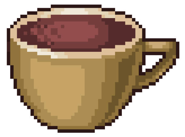 Pixel art coffee cup icon for 8bit game Pixel art coffee cup icon set 8bit white background pedreiro stock illustrations