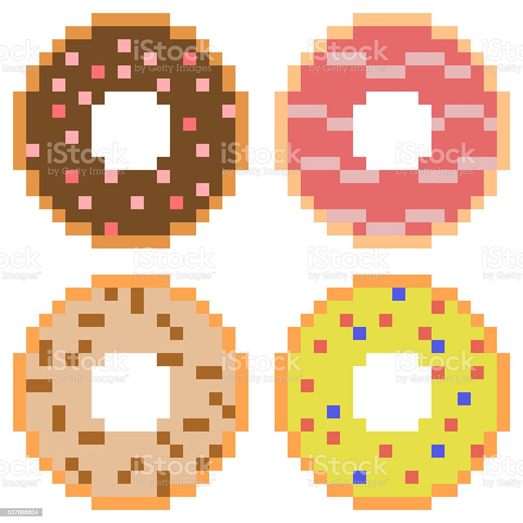 Pixel Art Donut Royalty Free Stock Vector Amp More Images