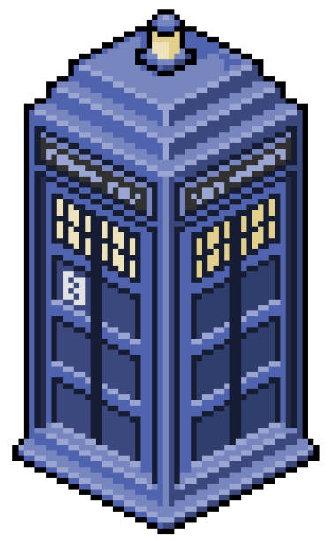 Pixel art english phone booth doctor who game 8bit Pixel art english phone booth doctor who pedreiro stock illustrations