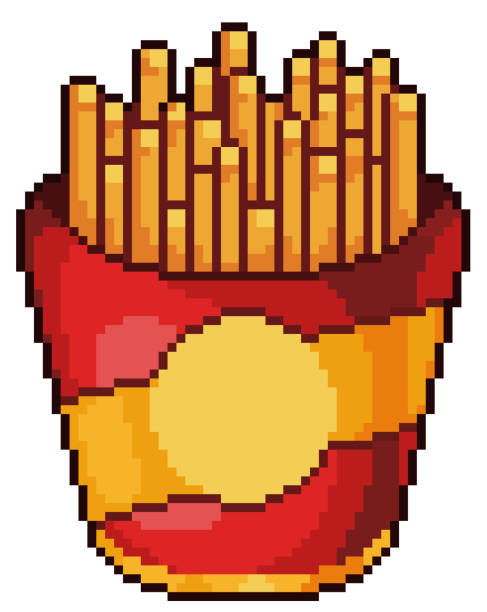 Pixel art french fries. Icon for 8 bit game Pixel art french fries with white background pedreiro stock illustrations