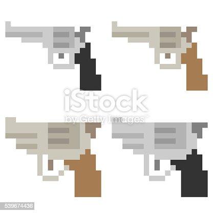 Pixel Art Gun Stock Vector Art & More Images of Art ...
