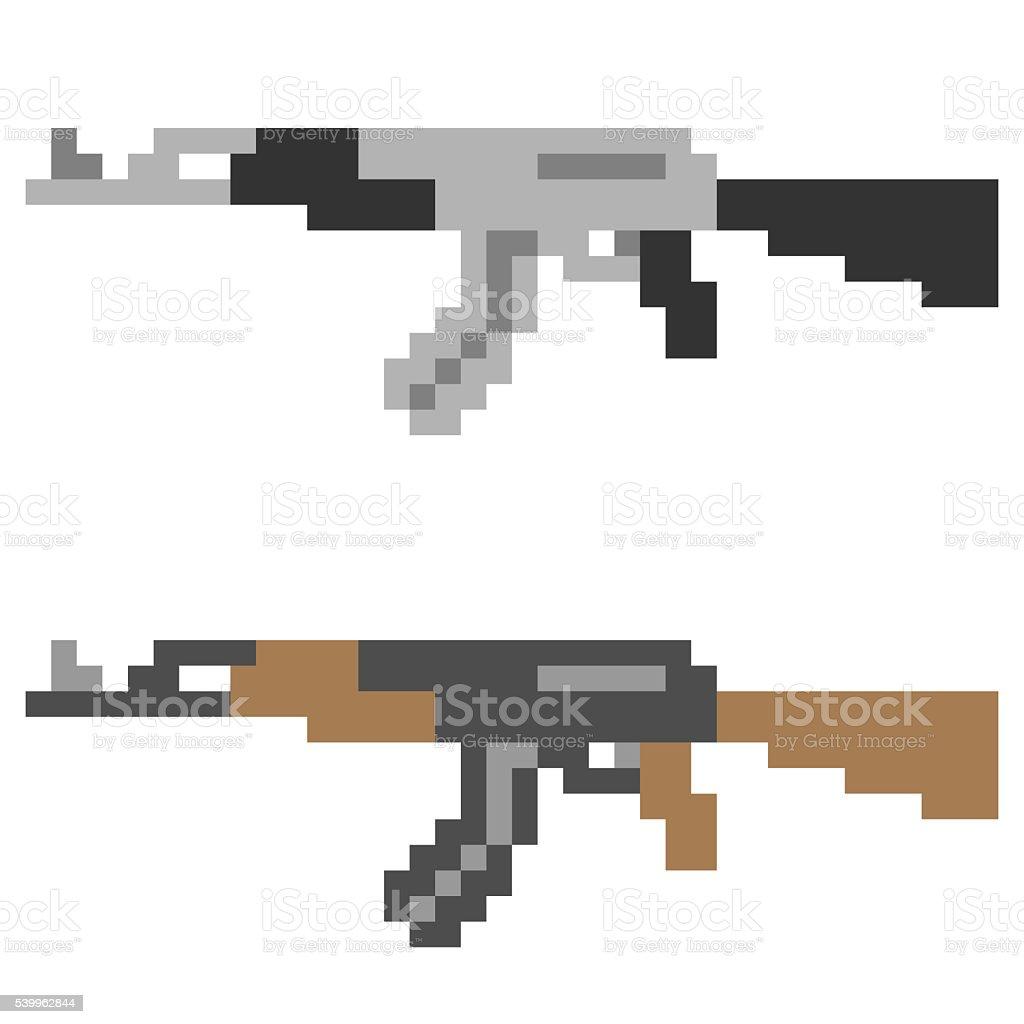 Pixel Art Gun Stock Illustration - Download Image Now