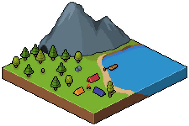 Pixel art isometric campground in forest with motanha and lake 8bit Pixel art isometric campground with white background pedreiro stock illustrations