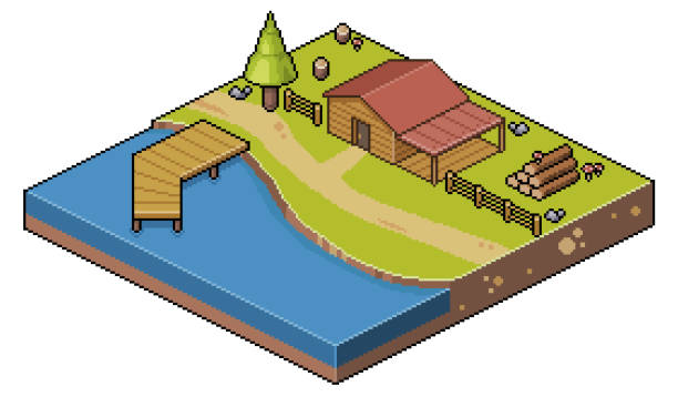 Pixel art Isometric landscape house on the lake and summer camp 8bit Scenario for 2d 8bit game pedreiro stock illustrations