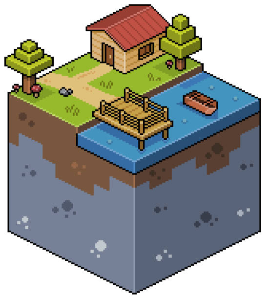Pixel art isometric landscape with house, lake, wooden deck, boat and trees. 8bit game Pixel art isometric landscape with white background pedreiro stock illustrations