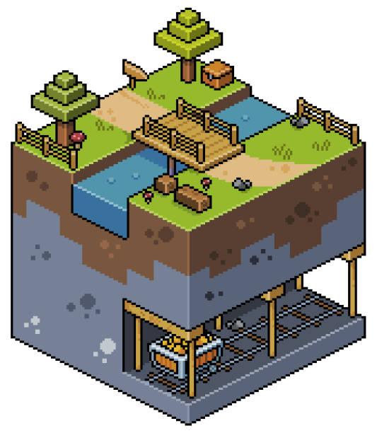 Pixel art isometric landscape with trees, bridge, lake, mine, mining, 8bit Scenario for 2d 8bit game pedreiro stock illustrations