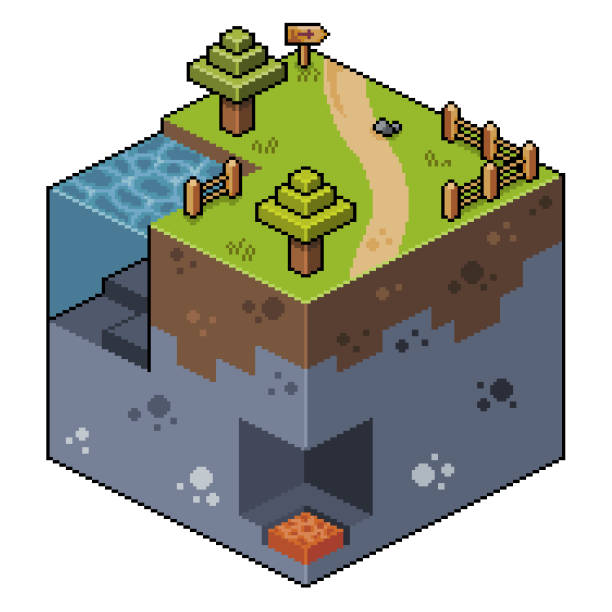 Pixel art isometric landscape with trees, lake and cave 8bit Scenario for 2d 8bit game pedreiro stock illustrations