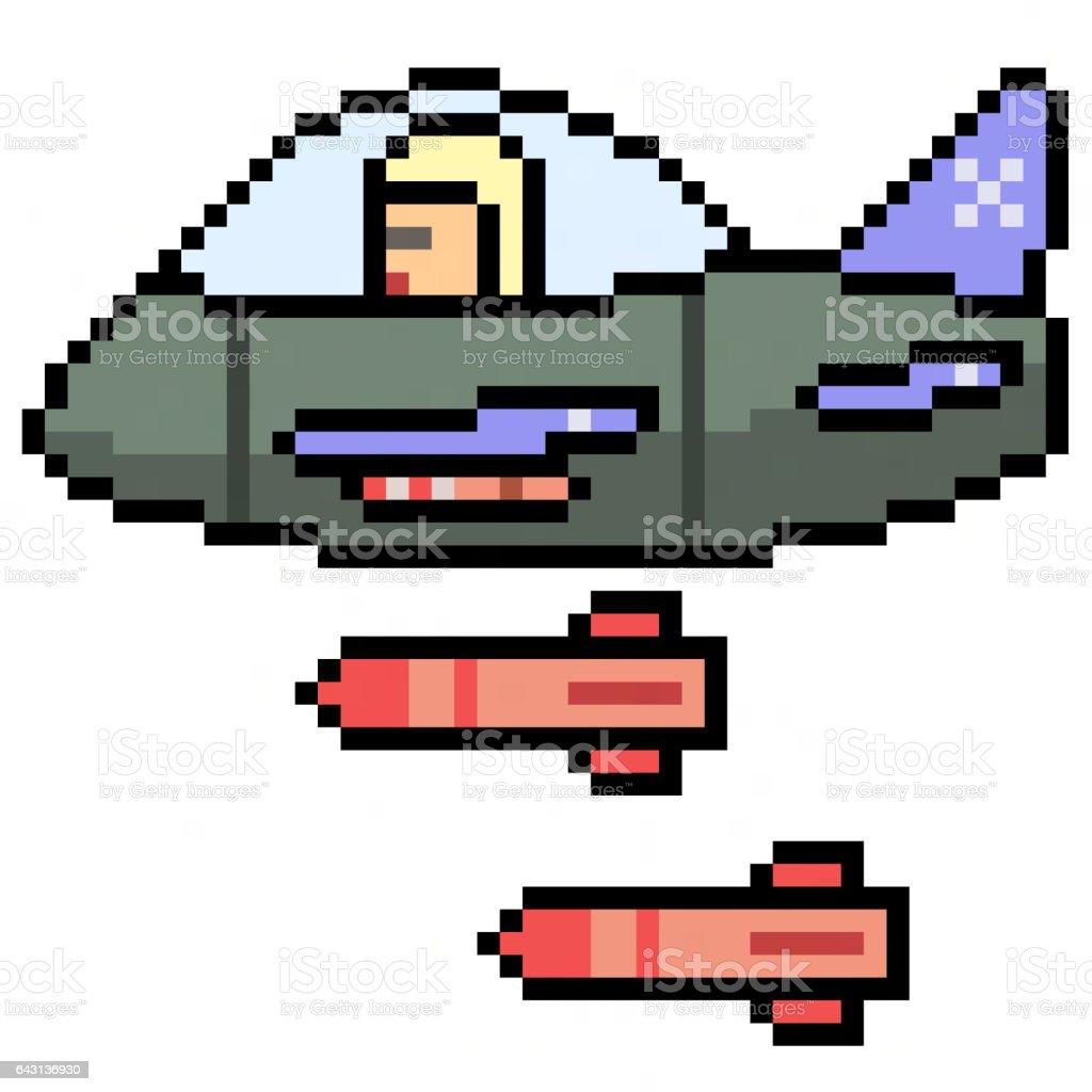 pixel art jet plane stock vector art more images of adult 643136930 istock. Black Bedroom Furniture Sets. Home Design Ideas