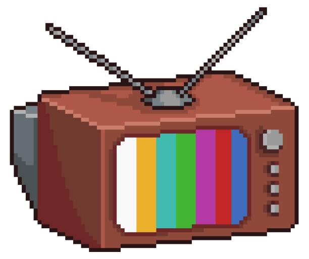 Pixel art old TV 8bit 16bit retro, vintage Pixel art old TV pedreiro stock illustrations